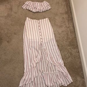 STRIPED Hi-Low MERMAID-STYLE FRONT SKIRT